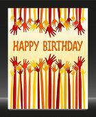 Happy birthday hands card vector.