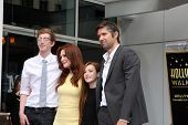 LOS ANGELES - OCT 3:  Caleb Freundlich, Julianne Moore, Liv Freundlich, Bart Freundlich at the Hollywood Walk of Fame Ceremony for Julianne Moore at W Hotel on October 3, 2013 in Los Angeles, CA