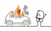 Hand drawn cartoon characters - man watching a burning car
