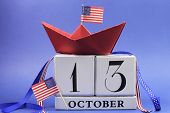 Usa Holiday, Happy Columbus Day, For The Second Monday, 13 October Celebration Save The Date Calenda
