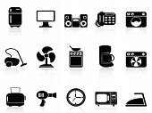 Black Home Devices Icons Set