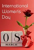 Red Theme, Save The Date White Block Calendar For International Women's Day, March 8, Decorated