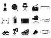 Zwarte films Icons Set