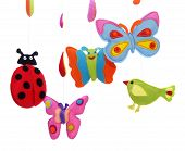 Butterflies, Ladybug And Bird