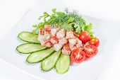 Crab meat salad isolated