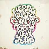 Christmas greetings, spray painted, on wall. Eps 10