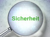 Protection concept: Sicherheit(german) with optical glass on dig