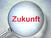 Time concept: Zukunft(german) with optical glass on digital back