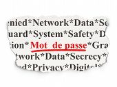 Privacy concept: Mot de Passe(french) on Paper background