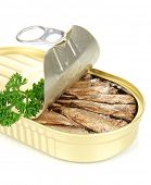 picture of hermetic  - Open tin can with sardines - JPG
