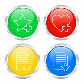 Set Of Favorites Buttons. Vector Illustration