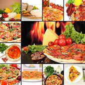 stock photo of hot fresh pizza  - Collage of delicious pizza with ingredients - JPG