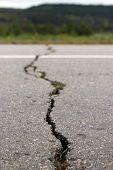 Cracked asphalt road