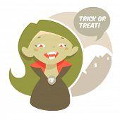 Halloween cartoon girl character
