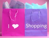 Colorful Shopping Bags With I Heart Shopping Message.