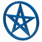 Blue pentagram sign