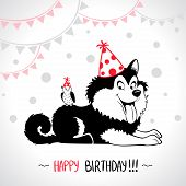 stock photo of dog birthday  - illustration of funny silhouette dog Happy Birthday - JPG