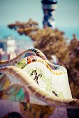 picture of gaudi barcelona  - Park Guell designed by Antonio Gaudi in Barcelona Spain In Barcelona - JPG
