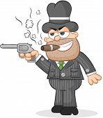 Cartoon Mafia Boss Aiming Gun