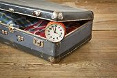 picture of old suitcase  - Old suitcase with old alarm clock and old shirt - JPG