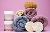 Beuty Spa Accessories - Towels, Loofahs, Sponge, And Creams Moisterizers - Against A Pretty Feminine