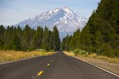 California Highway Heads Toward Mountain Landscape Mt Shasta Cascade Highway