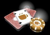 3D Render Of A Glaring Coffee Sign  On Poker Cards
