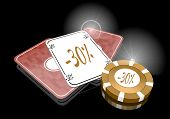 stock photo of posh  - Pastel gray posh reduction 3d graphic with noble discount symbol on poker cards - JPG