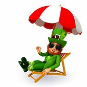leprechaun for patrick's day sitting on the beach chair