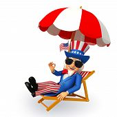 picture of uncle  - 3d rendered illustration of uncle sam sitting on the beach chair - JPG
