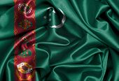 stock photo of turkmenistan  - Satin flag three dimensional render flag of Turkmenistan - JPG
