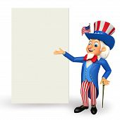 Illustration of Uncle Sam with sign