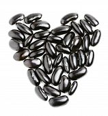 Black Haricot Bean In The Shape Of Heart.