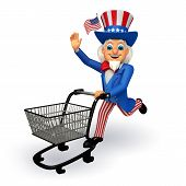 Uncle Sam with trolley