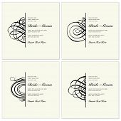 Vector wedding invitation template set with half ornaments. Great for invites, invitations, and announcements.