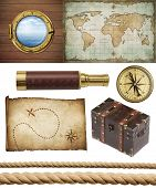 nautical objects set isolated: ship window or porthole, old treasure map, spyglass, brass compass, p