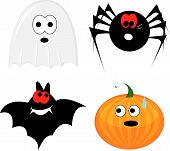 Cartoon halloween icon set (ghost, pumpkin, bat, spider)