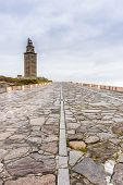 foto of hercules  - Tower of Hercules the almost 1900 years old and rehabilitated in 1791 55 metres tall structure is the oldest Roman lighthouse in use today and overlooks the Atlantic coast of Spain from A Coruna - JPG