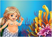 Illustration of a fat mermaid under the sea near the coral reefs