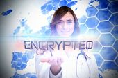 The word encrypted and portrait of female nurse holding out open palm against background with europa