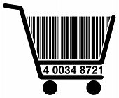 Shopping cart with barcode