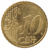 10 Euro Cent Coin, Back, Isolated On White Background