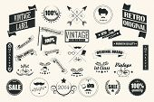 Collection of vintage retro labels, badges, stamps, ribbons, marks and typographic design elements