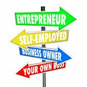stock photo of self-employment  - Entrepreneur Arrow Signs Self Employed Business Ownership - JPG