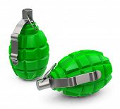 stock photo of grenades  - 3d generated picture of two green grenades - JPG