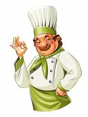 stock photo of moustache  - Smiling cook show okay - JPG