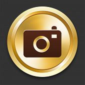 Camera Icons on Gold Button Collection