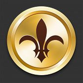 Fleur De Lis Icons on Gold Button Collection