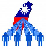 Lines of people with Taiwan map flag vector illustration