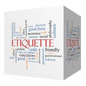 picture of polite  - Etiquette 3D cube Word Cloud Concept with great terms such as manners polite social and more - JPG